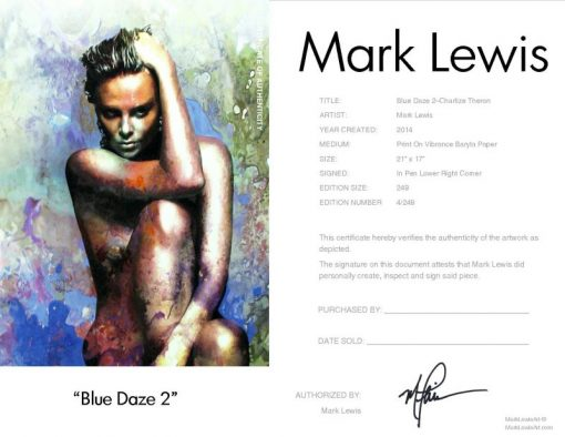 """Charlize Theron """"Blue Daze Two"""" by Mark Lewis"""