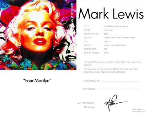 "Marilyn Monroe ""Four Marilyn"" by Mark Lewis"