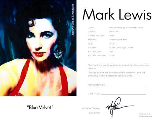 Liz Taylor Blue Velvet LEP Certificate
