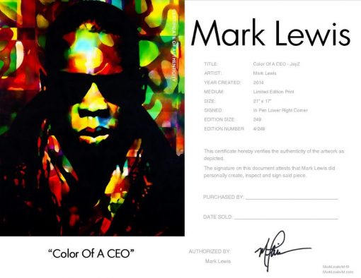 Jay Z Color Of A CEO LEP Certificate