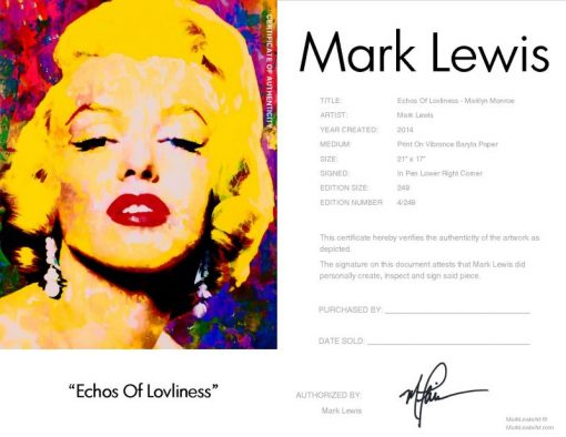 Marilyn Monroe Echoes Of Loveliness LEP Certificate