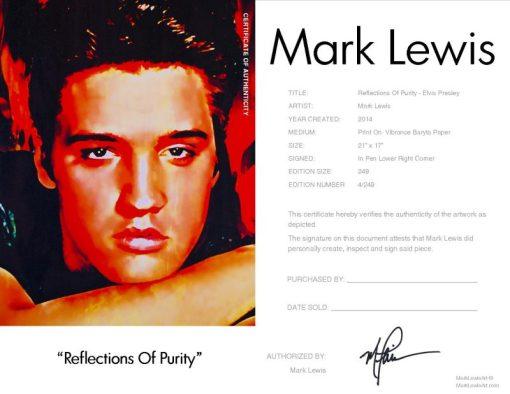 Elvis Presley Reflections Of Purity Certificate