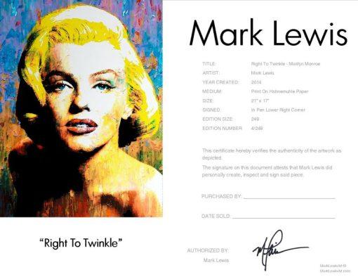 Right To Twinkle Marilyn Monroe Certificate