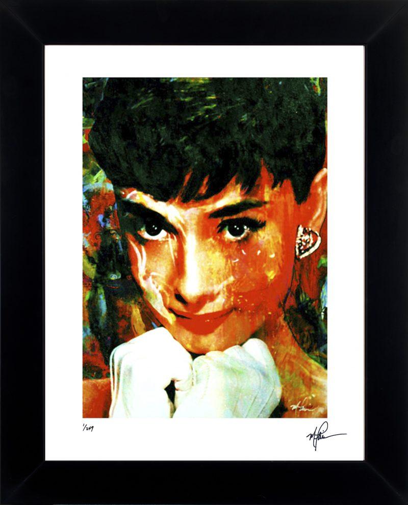 Audrey Hepburn art print framed lovely painting wall decor | Mark ...