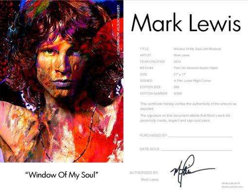 Jim Morrison Window Of My Soul LEP Certificate