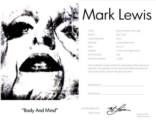 "Lady Gaga ""Body And Mind"" lep certificate"