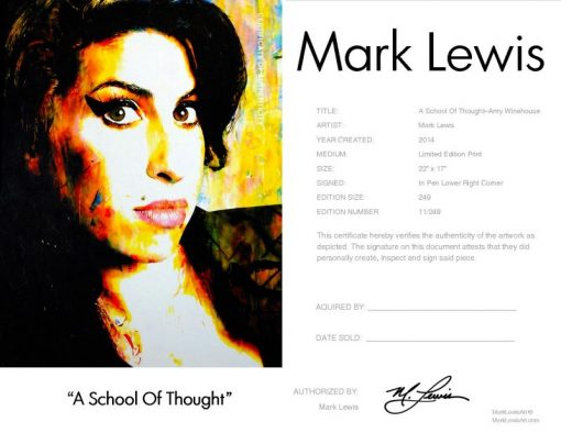 "Amy Winehouse ""A School Of Thought"" lep certificate"
