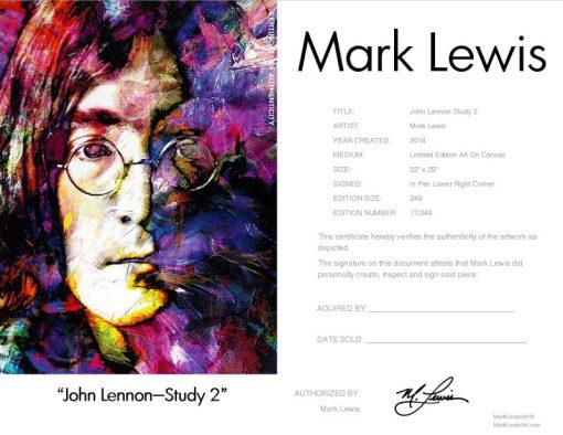 """John Lennon """"John Lennon Study 2"""" leg Certificate"""