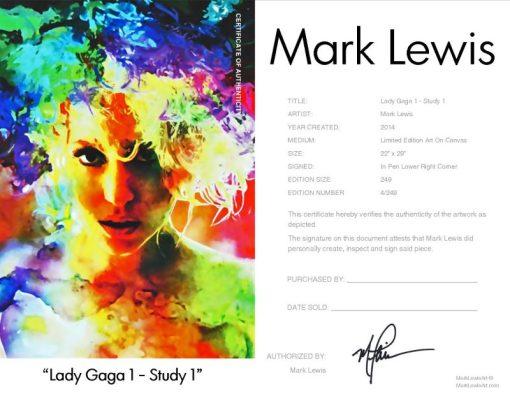 """Lady Gaga """"Lady Gaga Study 1"""" leg Certificate"""