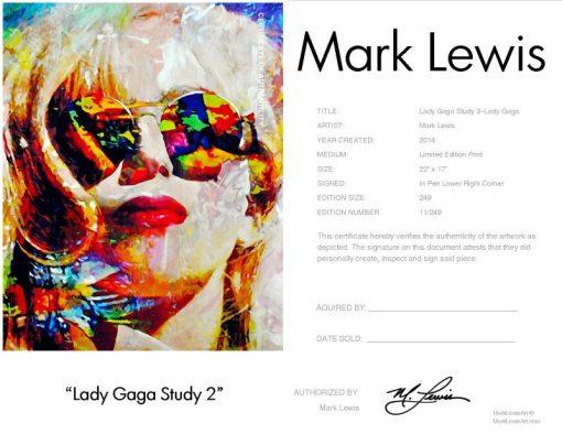 """Lady Gaga """"Lady Gaga Study 2"""" lep certificate"""