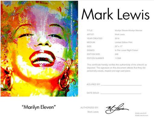 """Marilyn Monroe """"Marilyn Eleven"""" lep certificate"""