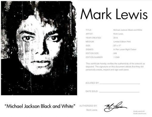 "Michael Jackson art print ""Black And White"" lep certificate"